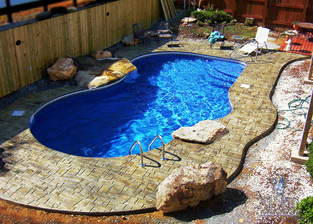 swimming pool with new stamped concrete